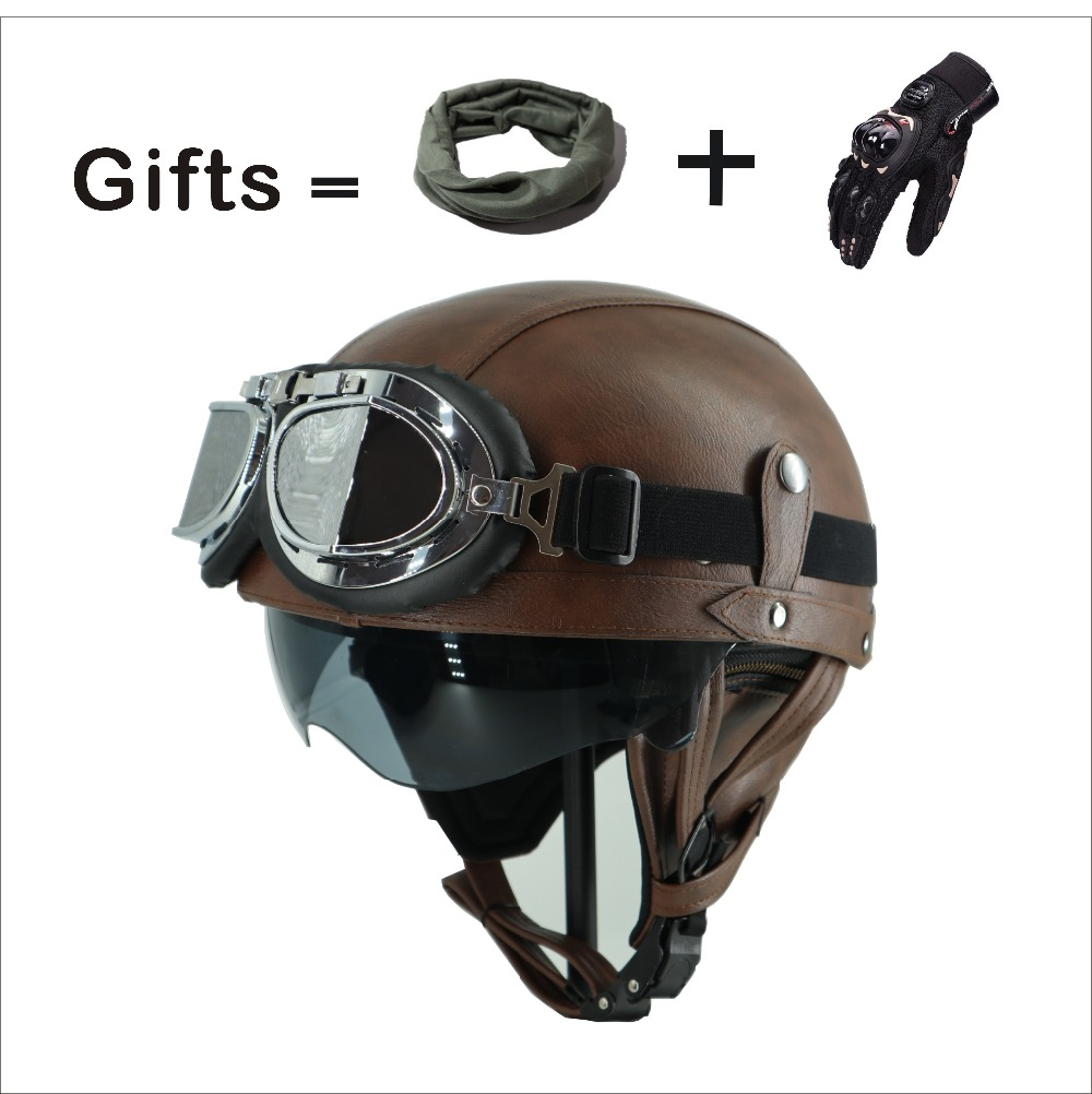 KCO Adult Motorcycle Vintage Harley PU Leather sun visor and Retractable Goggles and Detachable Warm Collar