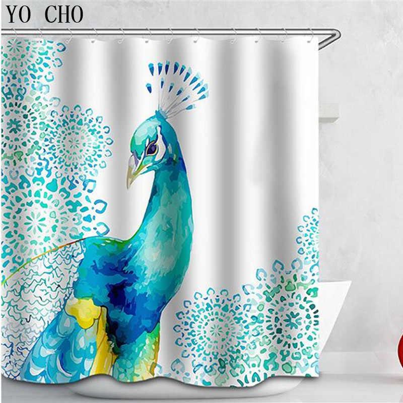 Nowy poliester, odporna na pleśń wodoodporna douche gordijn 3D atrament orły zasłona prysznicowa łazienka kurtyna pawie zasłony do pokoju kąpieli