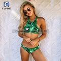 Cupshe 2016 nueva llegada caliente de las mujeres tropicales viaje sale impresión bikini set
