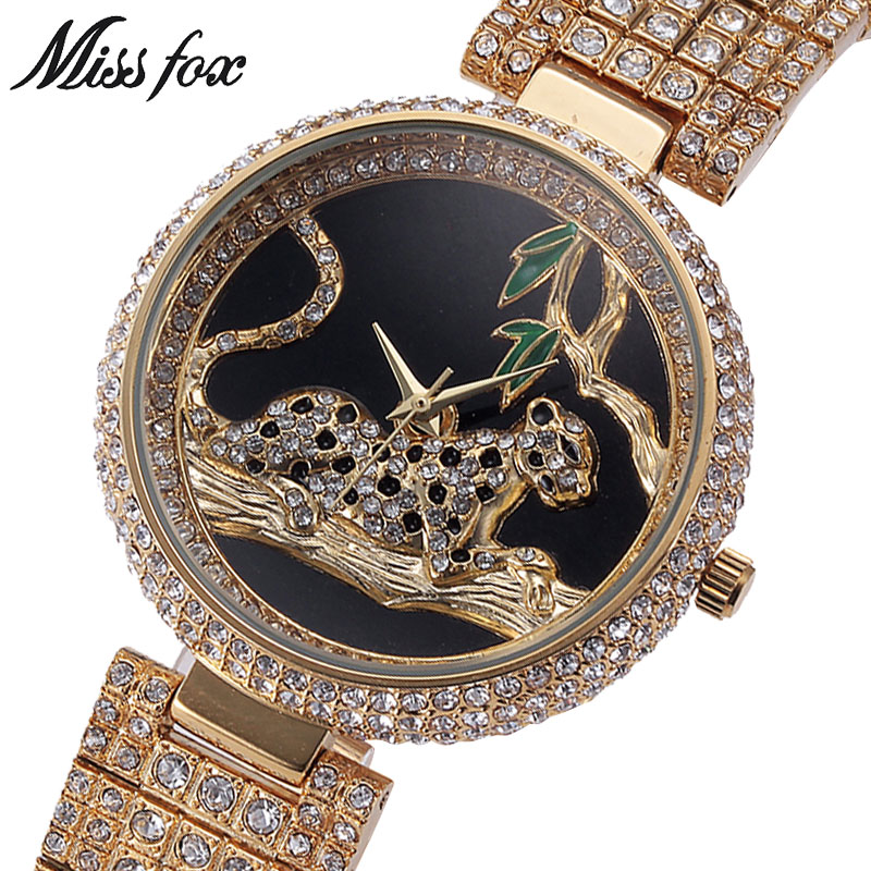 MISSFOX MISS FOX Merk Vrouwen Horloges Luxe Dames Bling Strass - Dameshorloges