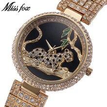 MISSFOX MISS FOX Märke Klockor Klockor Luxury Ladies Bling Rhinestone Klockor Kvinna Guldklocka Armbandsur Relogio Feminino