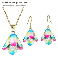 Neoglory Flower Simulated Pearl Necklaces Enamel Earrings Light Yellow Gold Color Jewelry Sets Colorful for Women 2018 Gifts
