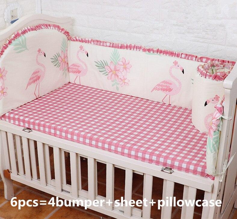 6pcs Flamingo Cotton Bedding Set Crib Bed Linen Kit protetor de berco Baby Crib Bedding Set (4bumpers+sheet+pillow cover)