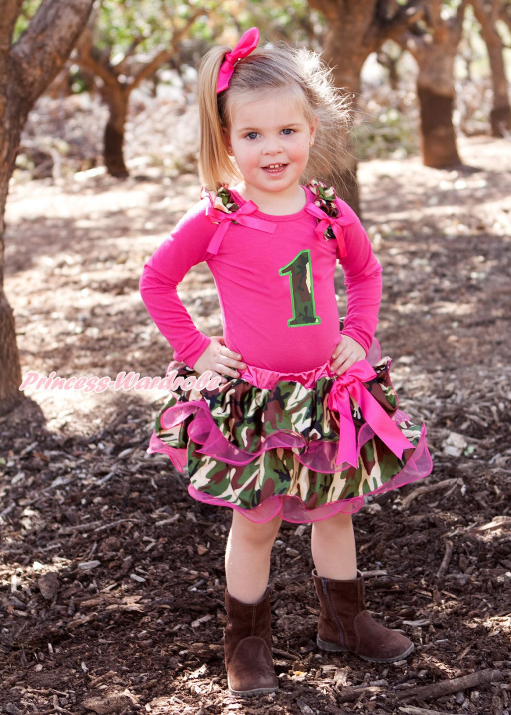 ФОТО Hot Pink Top Shirt Camouflage Birthday 1ST Petal Pettiskirt Girl Outfit NB-8Year MAPSA0711