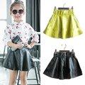 Baby Kids Girls PU Faux Leather Elastic Skirts Tutu Skirt Autumn Short Skirt