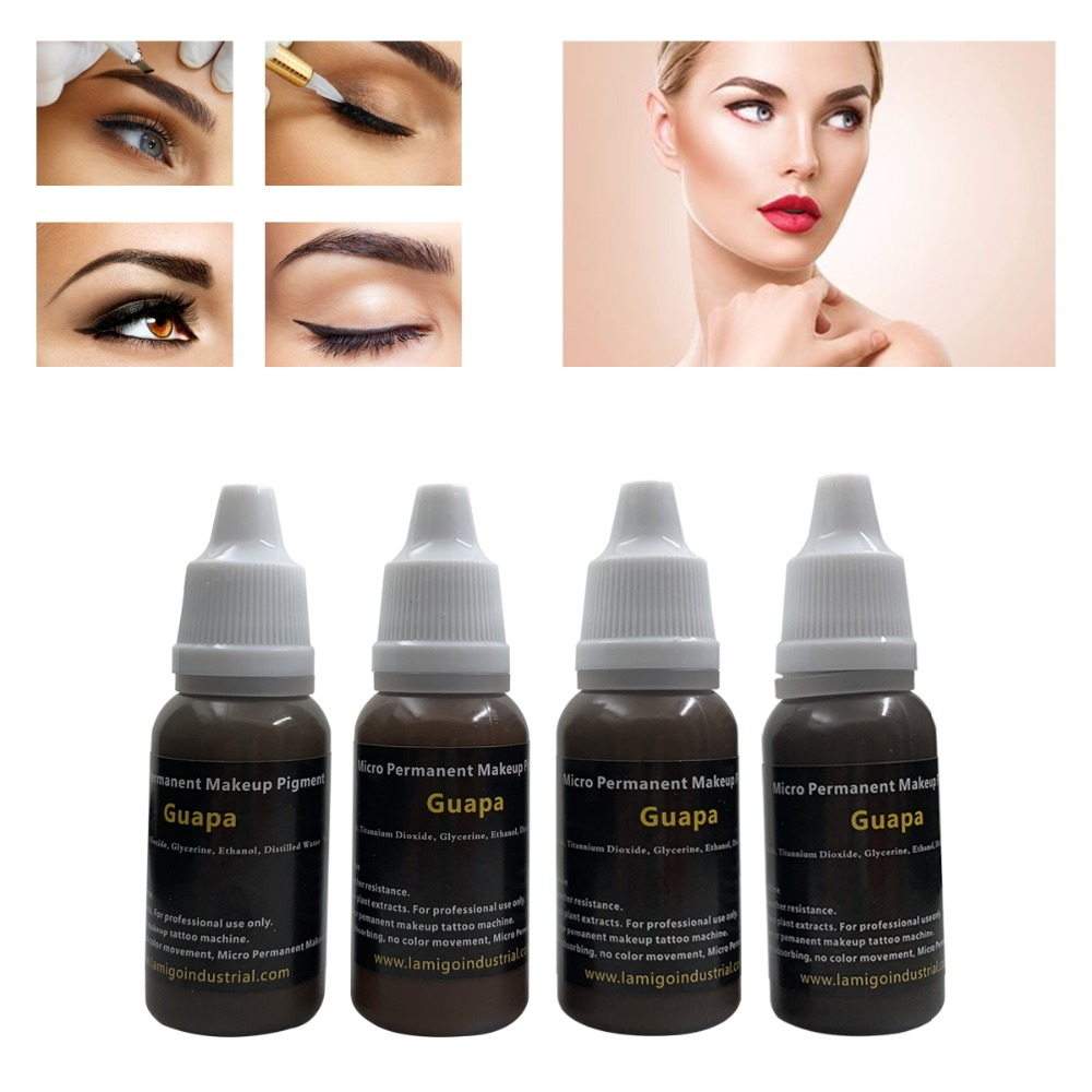 4pcs Permanent Makeup Tattoo Ink Pigments for Permanent Makeup Easy To Wear Eyebrow Eyeliner Lip Body
