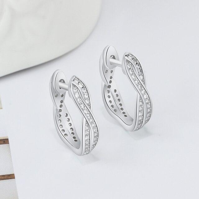 Classic Real 925 Sterling Silver Hoop Earrings Cubic Zirconia Twisted Earrings for Women Silver 925 Fine Jewelry (Lam Hub Fong) 1