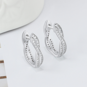 Buy Twisted Hoop Earrings Silver Cubic Zirconia Twisted Earrings | Elleperi