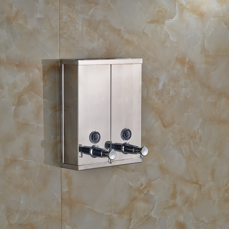 ФОТО Bath Kitchen Sink Wall Mounted Stainless Steel Pump Liquid Soap Lotion Dispenser Chrome Finished