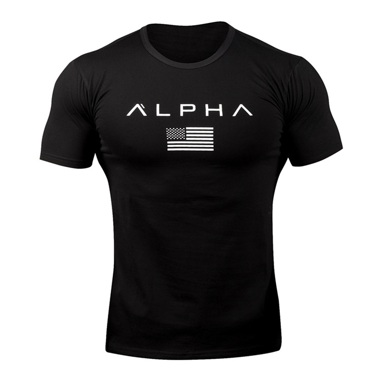 New 2019 ALPHA Brand Clothing Gyms Tight   T  -  shirt   Mens Fitness   T  -  shirt   Homme Gyms   T     Shirt   Men Fitness Crossfit Summer Top Tees