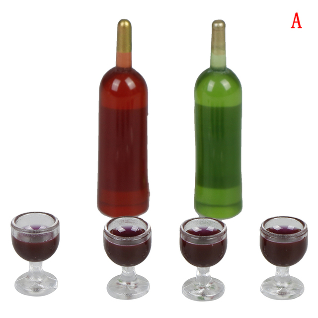 6Pcs/Set Dollhouse Miniature Wine Bottle with four wine glass Model Pretend Play Mini Food Doll Fit Toy Accessories