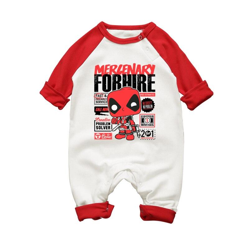 R5037 23 De Descontoalgodão Macio Do Bebê Macacão De Manga Longa Pijamas Dos Desenhos Animados Deadpool Jumpuits Roupas Bebê Recém Nascido Meninos