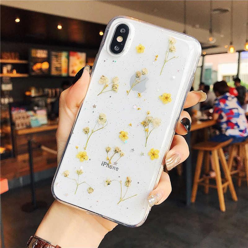 Reale Fiori Trasparente Molle di TPU Cassa Del Telefono Per il iPhone 11 X XS XR XS Max 6 6S 7 8 più Fiori Secchi Bling bella Copertura Posteriore