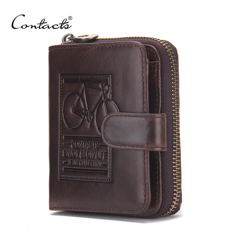 CONTACT'S Brand Men Genuine Leather Wallets Card Holder Luxury Purse Designer Mini Wallet Rfid Walet Hasp Zipper Dollar Price contact s short genuine leather men wallets cowhide purse small clutch vintage famous brand wallet designer dollar price walet