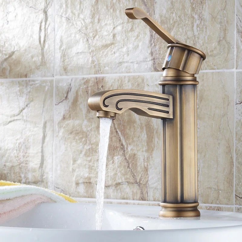 ФОТО Free Shipping Europe Antique Hot and Cold Water Tap, 100% Copper Bamboo Basin Bronze Faucet GZ-7003