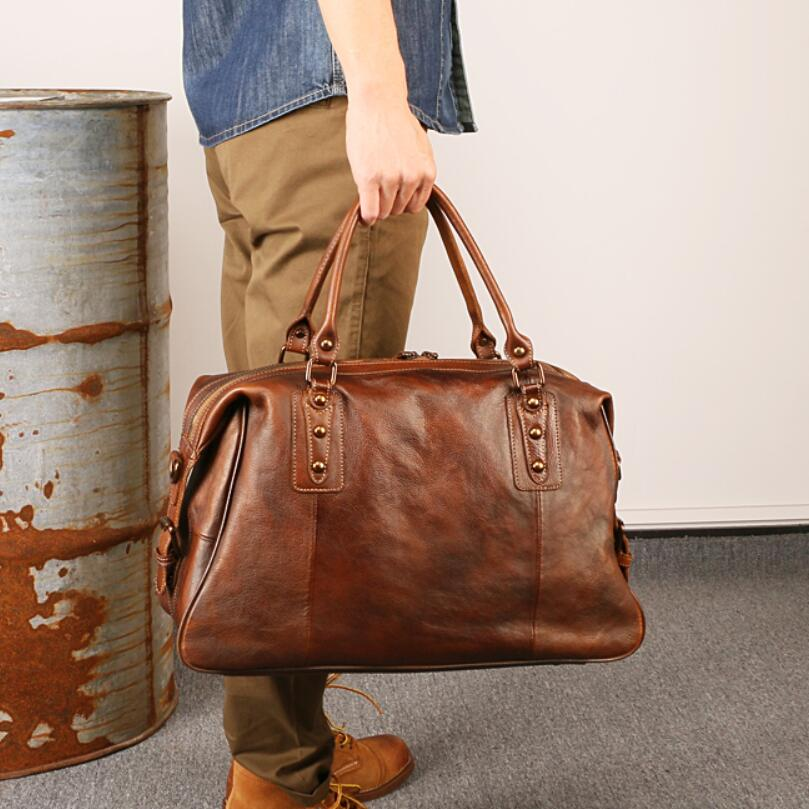 Genuine Leather Men Travel Bags Overnight Duffel Bag Large Capacity Business Weekend Tote Shoulder Crossbody Purse Brown Handbag augur new canvas leather carry on luggage bags men travel bags men travel tote large capacity weekend bag overnight duffel bags