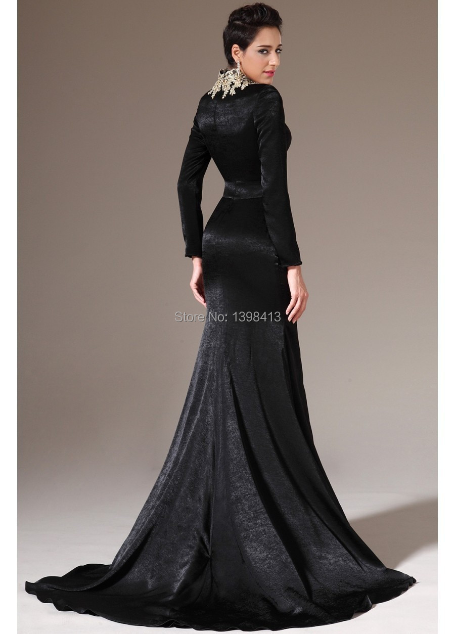 Winter Evening Dresses with Long Sleeves High Collar Appliques ...