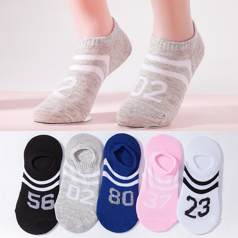 5 Colors Women Ankle Socks Girls Numbers Boat Socks Fashion Lady Summer New Short Stripes Casual Socks