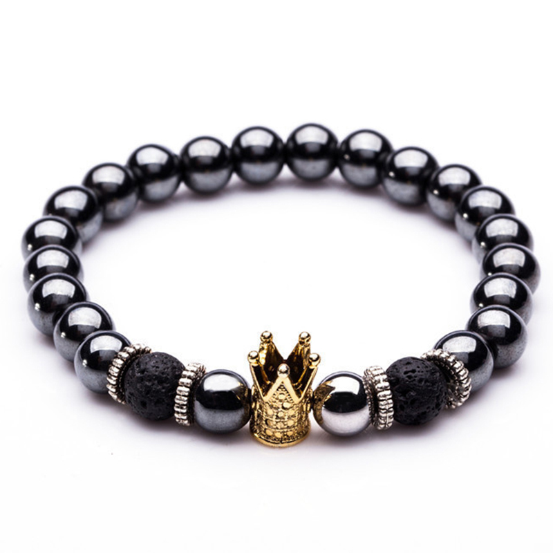 Charm Natural stone bracelets High quality Golden&Black Crown Dumbbells Men's bracelets Hematite Beads Bracelet For Women Men