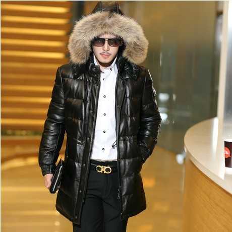 Images of Leather Jacket With Fur Hood - Reikian