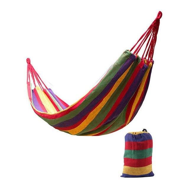 Enkel Dubbel Dikke Canvas Hangmat Outdoor Camping Indoor Leisure Swing Student Slaapzaal Hangmat Artefact Hoge Kwaliteit