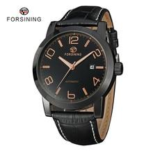 5 Colores FORSINING Lujo Hombres Mecánicos Automáticos Del Reloj Casual Relojes de pulsera de Cuero Negro Para Hombre Reloj relojes relogio masculino