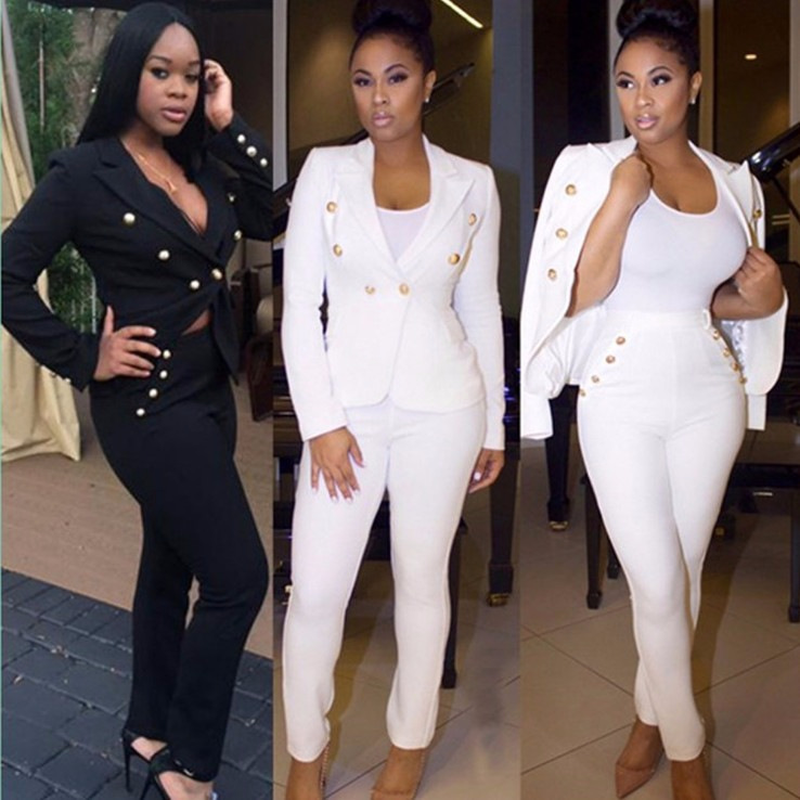 2019 Spring Women Sexy casual 2 Piece Set women's suit set in black and white Fashion Plus Size Blazer And Pants Suit a253