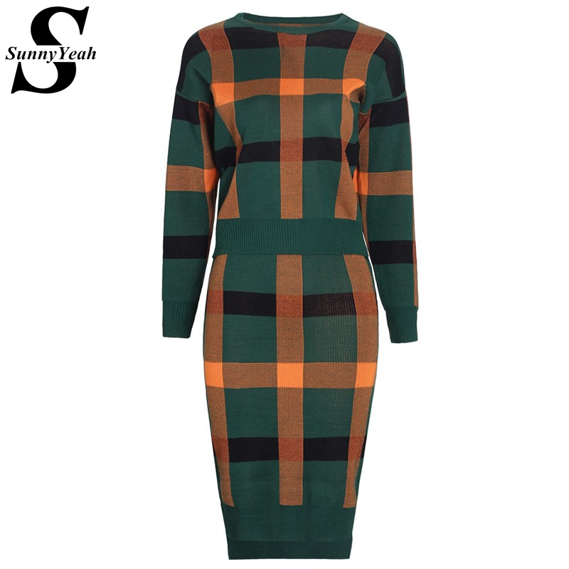 Two Piece Set Women Clothing 2017 Autumn Winter Knitted Sweater Dress Female Plaid Long Sleeve Casual Dress Ladies 2 Pieces Set