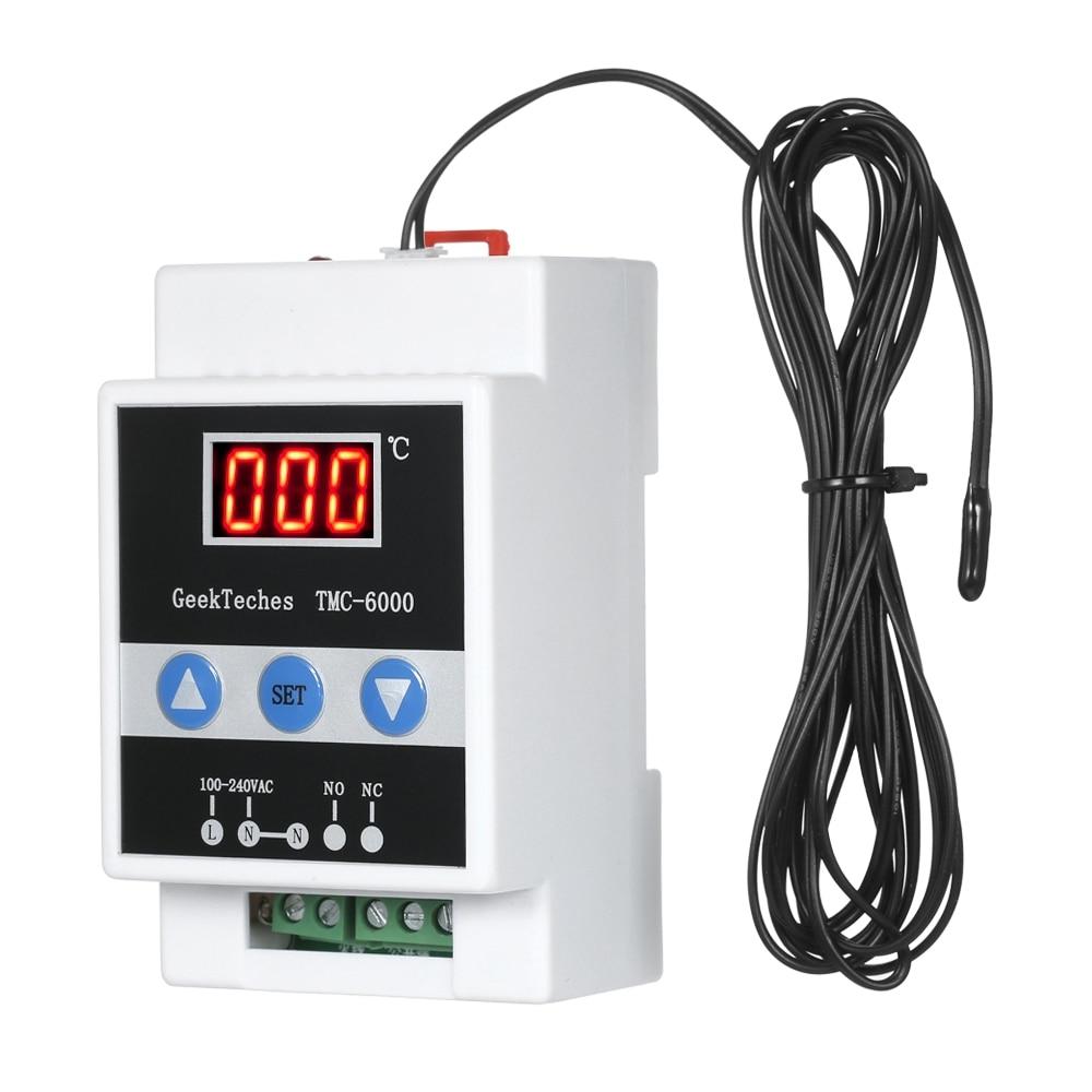 THGS TMC-6000 110-240V Guide Rail Thermoregulator Digital Temperature Controller Thermostat Refrigeration Heating Temperature