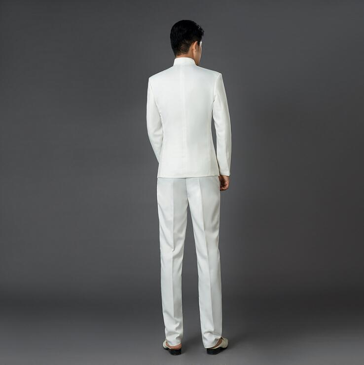 De Et Robe blanc Noir Mince Costume Costumes Pantalon Blanc Nouveau Style Chinois Marié Hommes Mode bleu Hot rouge Bleu veste Porcelaine Smokings Broderie q4twTPx