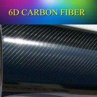 1.52 메터 (5피트) 블랙 프리미엄 광택 6D 탄소 섬유 높은 광택 광택 4D 탄소 섬유 비닐 랩 필름 스티커 공기 무료 거품