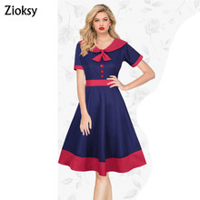 Zioksy Brand S - XXL Women Dress Casual Bow tie Collar Short-Sleeve Summer Dresses Elegant 3 Colors Vestidos