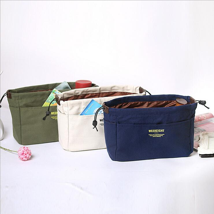 Canvas Drawstring Bag Portable Cosmetic Organizer Bag Elegant Make Up Bags Purse Wash Kit Women Makeup Handbag Travel S/M/L