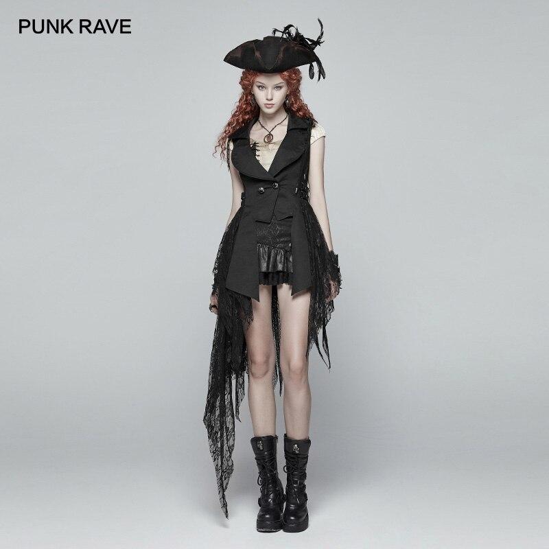 PUNK RAVE Steampunk Retro Style Women Black Jacket Gothic Fashion Asymmetric Coat Club Party Sexy Coat