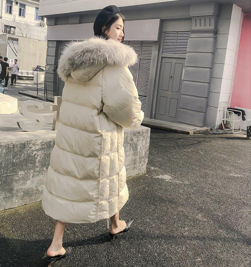 90% duck   down     coat   fashion brand big fur collar   down   jacket women winter hooded luxury longer warm   down     coat   wq449 dropship