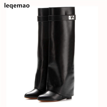 Silver Metal Shark lock Knee high Boots Women Designer Pointed Toe Leather Wedge increase Height High heel Shoes Woman Size35-42