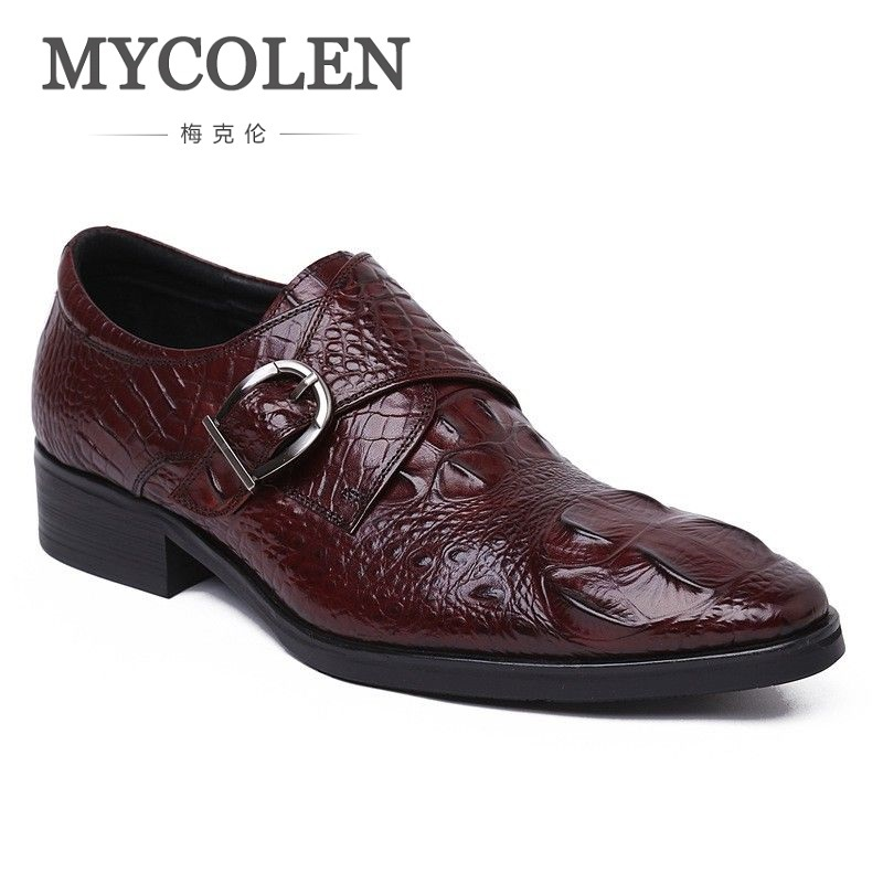 MYCOLEN High Quality Crocodile Male Genuine Leather Hasp Pointed Toe Business Formal Shoes Fashion Vintage Men Slip-On Shoes branded men s penny loafes casual men s full grain leather emboss crocodile boat shoes slip on breathable moccasin driving shoes