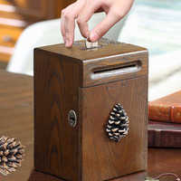 American creative solid wood coin deposit money banknotes piggy bank children large storage box with lock as gift