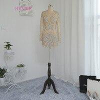 Hvvlf шампанское Коктейльные платья Элегантный 2018 оболочка высоким воротником одежда с длинным рукавом Короткие мини See Through Бальные платья