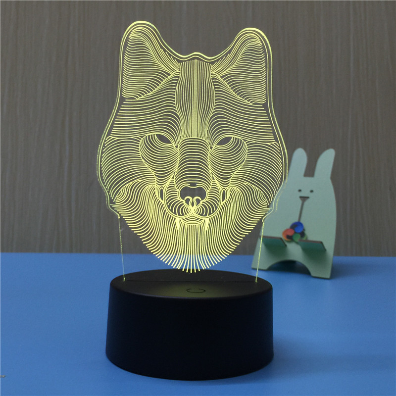 Wolf Head 3D LED Lamp Night Light USB LED Illusion Atmosphere Vision Table Lamp for Children Bedroom Decoration Novelty Gift image