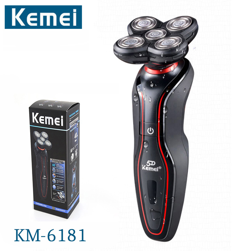 Kemei KM-6181 5 Heads Electric Washable Rechargeable Shaver Triple Blade Electric Shaving Razors Men Face Care 5D Floating kemei7000 3 in1 washable rechargeable electric shaver triple blade electric shaving razors men face care 3d floating km 7000