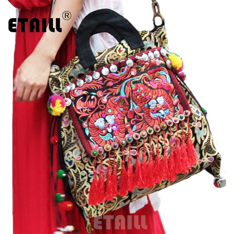 Sac à broderie ethnique National fait à la main indien Boho brodé femmes Sac à bandoulière femmes célèbre marque Logo sacs Sac à Dos Femme