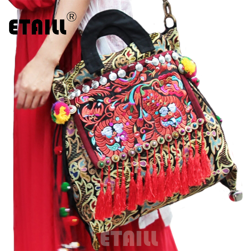 National Ethnic Embroidery Bag Handmade Indian Boho Embroidered Women Shoulder Bag Womens Famous Brand Logo Bags Sac a Dos Femme недорго, оригинальная цена