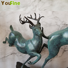 Bronze Deer Sika Double Copper Decoration All the way to your lucky office decorations gifts creative crafts