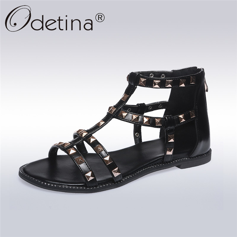 Odetina 2018 New Fashion Gladiator Sandals For Women Casual Rivet Flat Shoes Ladies Rome Style Sandal Shoes With Zip Big Size 43 gktinoo 2018 summer gladiator sandals women rivet wedges fashion women shoes casual comfortable platform female sandal
