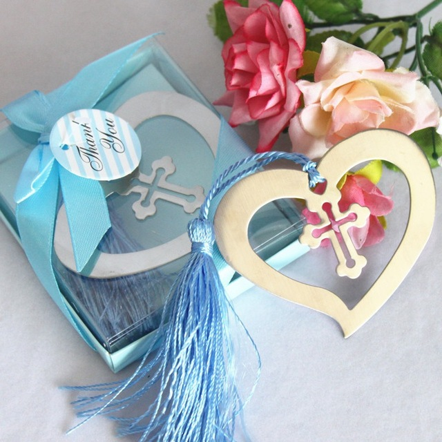 creative heart shaped cross metal book markers with tassel