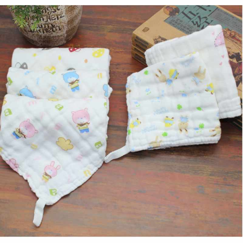 5PCS Baby Towel 6 Layers Cotton Baby Wipe Towel 25x25cm Absorbent And Soft Baby Handkerchief Cute Cartoon Baby Towel