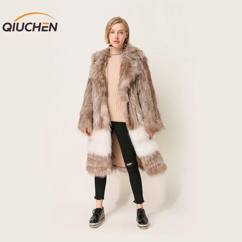 LiebenswüRdig Qiuchen Pj1870 Neue Ankunft Freies Verschiffen Frauen Langen Mantel Winter Outwear Hohe Qualität Jacke Schrecklicher Wert Echtes Fell Frauen Kleidung & Zubehör