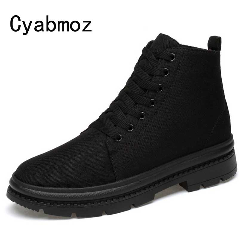 Mens Ankle Boots Men Height Increasing 5/7cm Casual Shoes Male Hidden Elevator Canvas Sneakers High Top Waterproof Booties Man