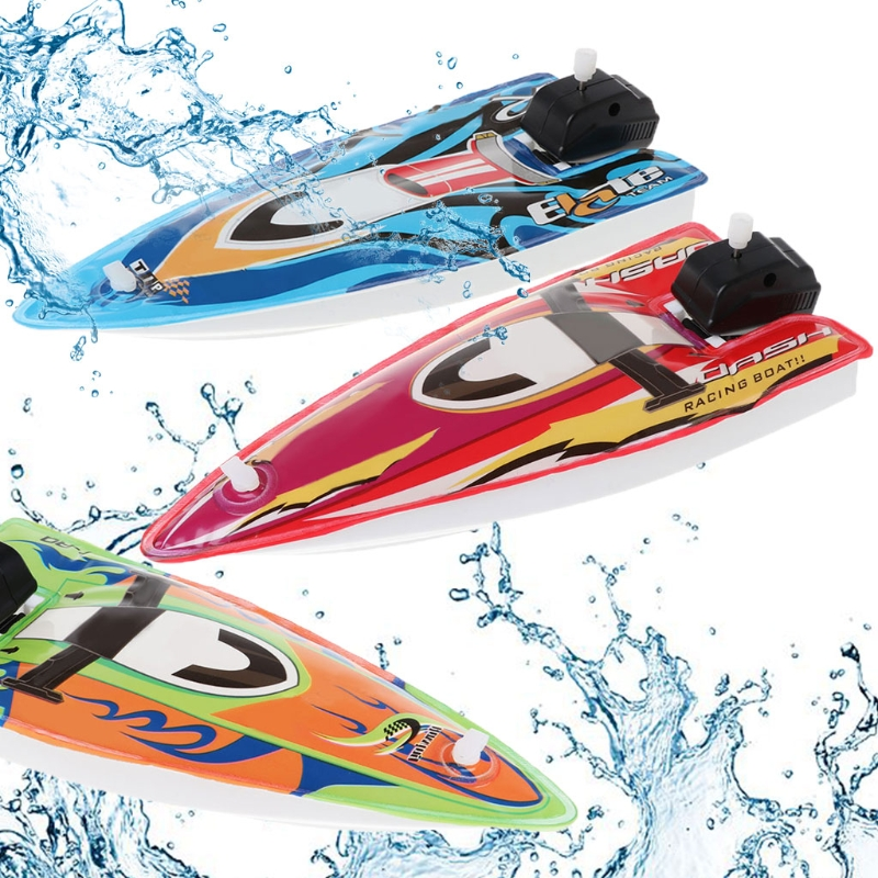 HBB 1PC Baby Classic Toy Inflatable Boat Ship Shape Infants Bath Toy Play Water Bathroom Kids Wind Up Toys (Random Color)